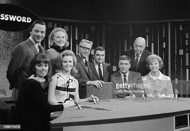 From left Stephen Sondheim Phyllis Newan unidentified Lee Remick Allen Ludden Pierre Salinger Peter Lawford Otto Preminger Audrey Meadows on the CBS...