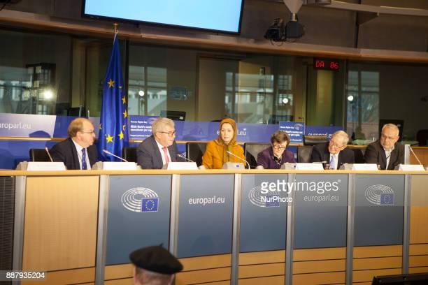 Struan Stevenson Ryszard Czarnecki Maryam Rajavi Anthea McIntyre Tunne Kelam Jozo Rados European Parliament Brussels Belgium On a conference at the...