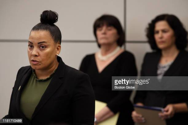 From left Suffolk County District Attorney Rachael Rollins speaks to the media along with Middlesex County District Attorney Marian Ryan and Wendy...