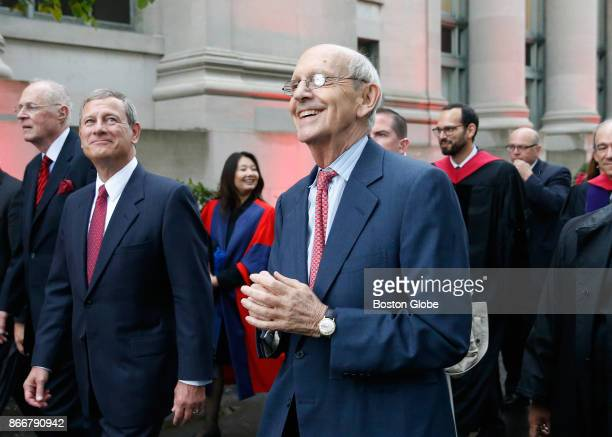 From left Supreme Court Justices Anthony Kennedy John Roberts and Stephen Breyer take part in a procession to mark Harvard Law School's bicentennial...