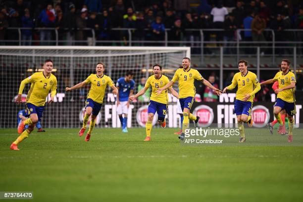 Sweden's defender Mikael Lustig Sweden's defender Ludwig Augustinsson Sweden's defender Gustav Svensson Sweden's forward Marcus Berg Sweden's...