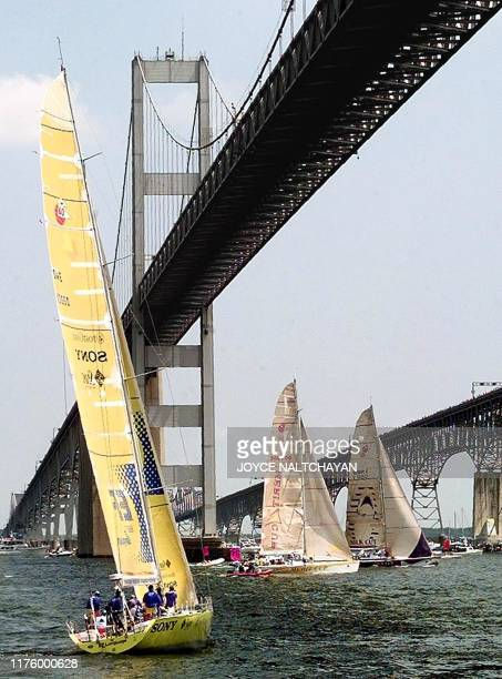 From left Sweden's EF Language Monaco's Merit Cup and Great Britain's Silk Cut pass under the Chessapeake Bay Bridge at the restart of the Whitbread...