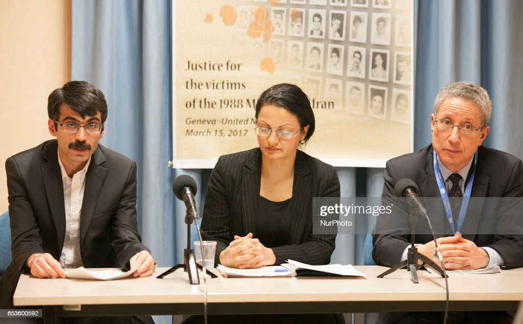 """Tahar Boumedra, (theformer chief of the Human Rights Office of the UN Assistance Mission for Iraq, UNAMI), Azadeh Zabeti (Vice President of the Committee of Anglo-Iranian Lawyers), Farzad Madadzadeh, (a former political prisoner in Iran who was imprisoned from 2009 to 2014 for supporting the MEK) during press conference by the International Committee """"Justice for Victims of 1988 Massacre in Iran"""" (JVMI) at the UN Headquarters in Geneva on Wednesday, March 15, 2017, to announce its first report on the massacre of 30,000 political prisoners mainly supporters of the Peoples Mojahedin Organization of Iran (PMOI/MEK) in Iran in 1988. in"""