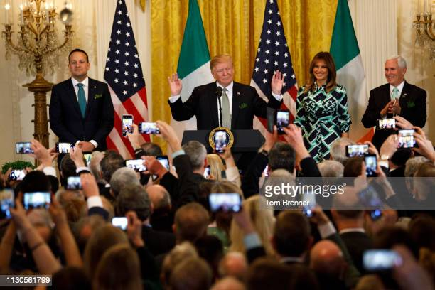 From left Taoiseach Leo Varadkar of Ireland President Donald Trump First Lady Melania Trump and Vice President Mike Pence pose for a photo during the...