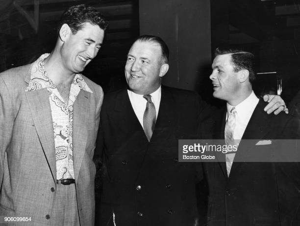 From left Ted Williams Walter Brown and Tommy Collins pose for a photo in Boston May 27 1954