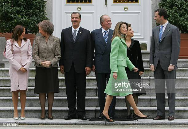 From left: The daughter of Mexican President Vincente Fox, Cristina, Queen Sofia of Spain, Fox, Spanish King Juan Carlos, Spanish Princess Letizia,...