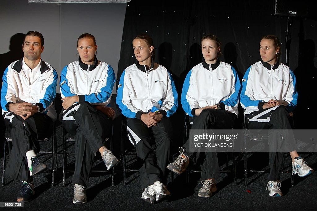 From Left The Estonian tennis team coqch Rene Busch poses with Estonian Tennis players Kaia Kanepi, Maret Ani, Anett Schutting, Margit Ruutel after the drawing for the Fed Cup meeting opposing Belgium to Estonia, on April 23, 2010.