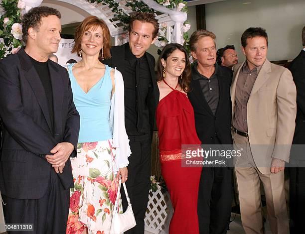 From left The InLaws cast members Albert Brooks Maria Ricossa Ryan Reynolds Robin Tunney Michael Douglas and producer Bill Gerber