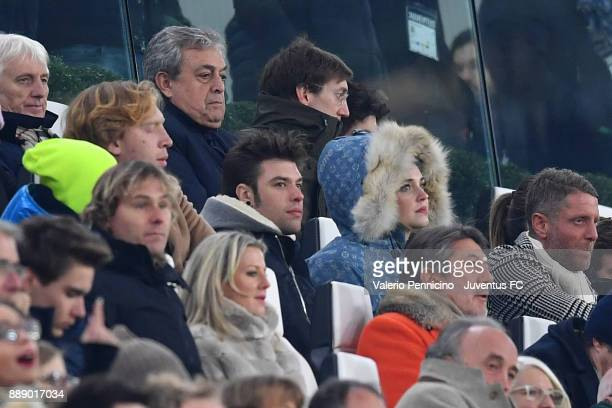 from left the italian rapper Fedez with his girlfriend Chiara Ferragni and Lapo Elkann during the Serie A match between Juventus and FC...