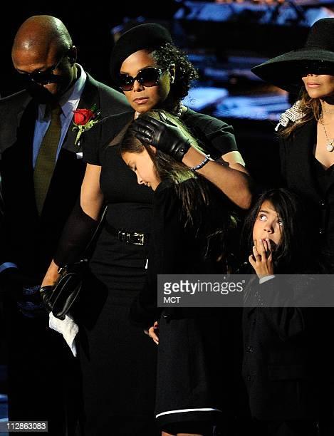 From left The Jackson family Randy Jackson Janet Jackson Paris Katherine Jackson Prince Michael Jackson II and La Toya Jackson speak at Michael...