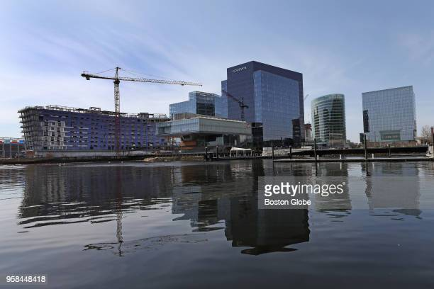 From left, the Pier 4 condo and office tower, the Institute of Contemporary Art, the Goodwin Building, 121 Seaport, and PwCs building are pictured in...
