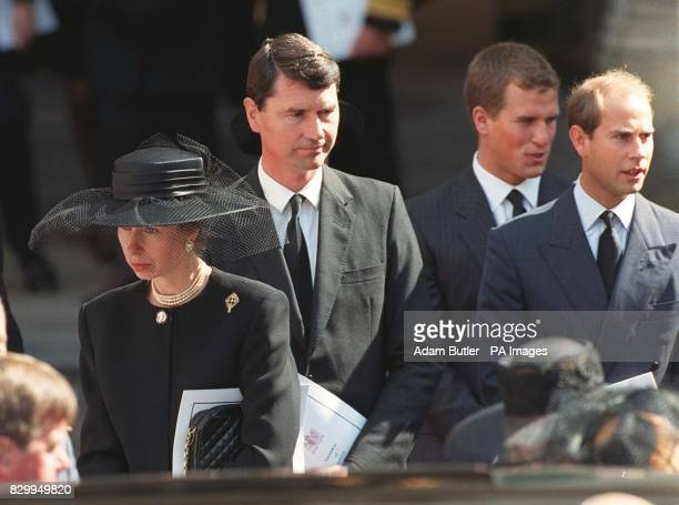 The Princess Royal her husband CaptTim Laurence her son Peter Phillips and Prince Edward leave Westminster Abbey following the funeral of Diana...