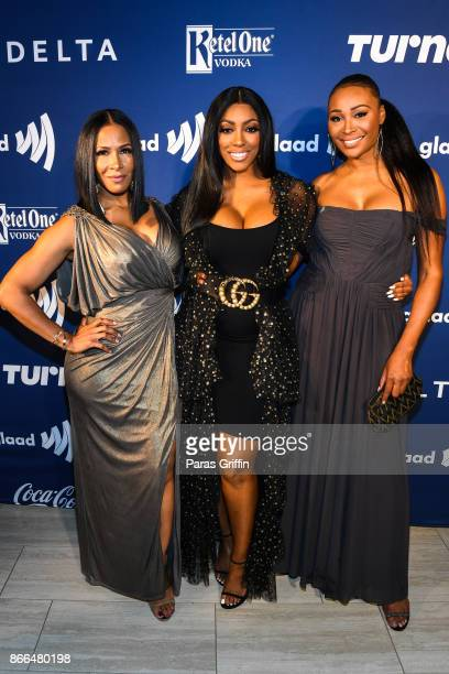 From left the Real Housewives of Atlanta Sheree Whitfield Porsha Williams Cynthia Bailey celebrated achievements in the LGBTQ community at the GLAAD...