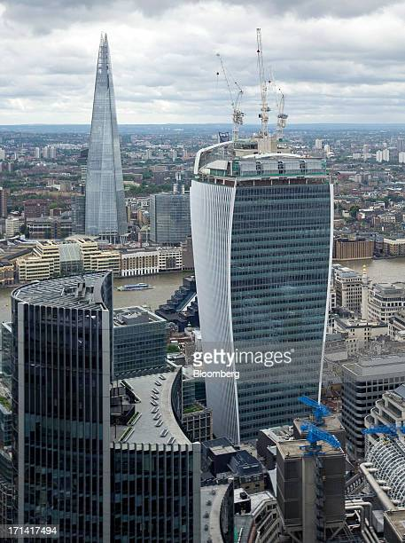 From left the Willis tower the Shard tower and 20 Fenchurch Street also known as the 'WalkieTalkie' are seen from the top of the Swiss Re building...