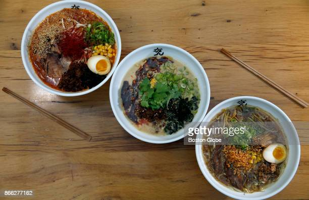 From left three different types of ramen Ankara Miso Tantan and Gantetsu Shoyu are pictured at Ganko Ittetsu Ramen in Coolidge Corner in Brookline MA...