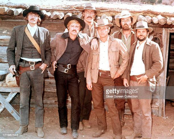 Timothy Scott US actor Robert Redford US actor Ted Cassidy US actor Paul Newman US actor Dave Dunlap and Charles Dierkop US actor pose for a group...