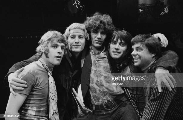 From left to right actor and singer Paul Nicholas writers James Rado and Gerome Ragni actor Oliver Tobias and director and composer Tom O'Horgan at a...