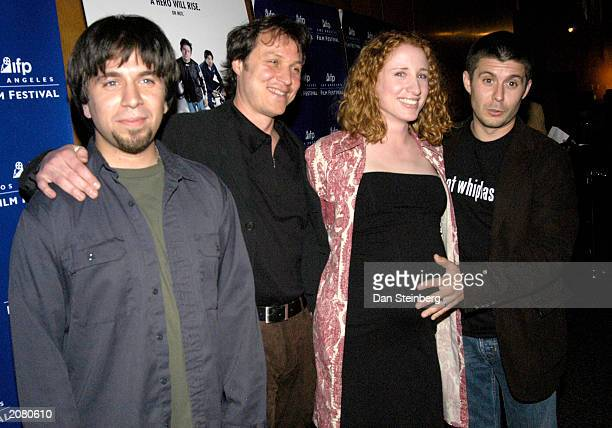 From left to right actor Joshua Gomez Director Damon Santostefano actress Jennifer WymoreGomez and actor Rick Gomez arrive at the premiere of Last...