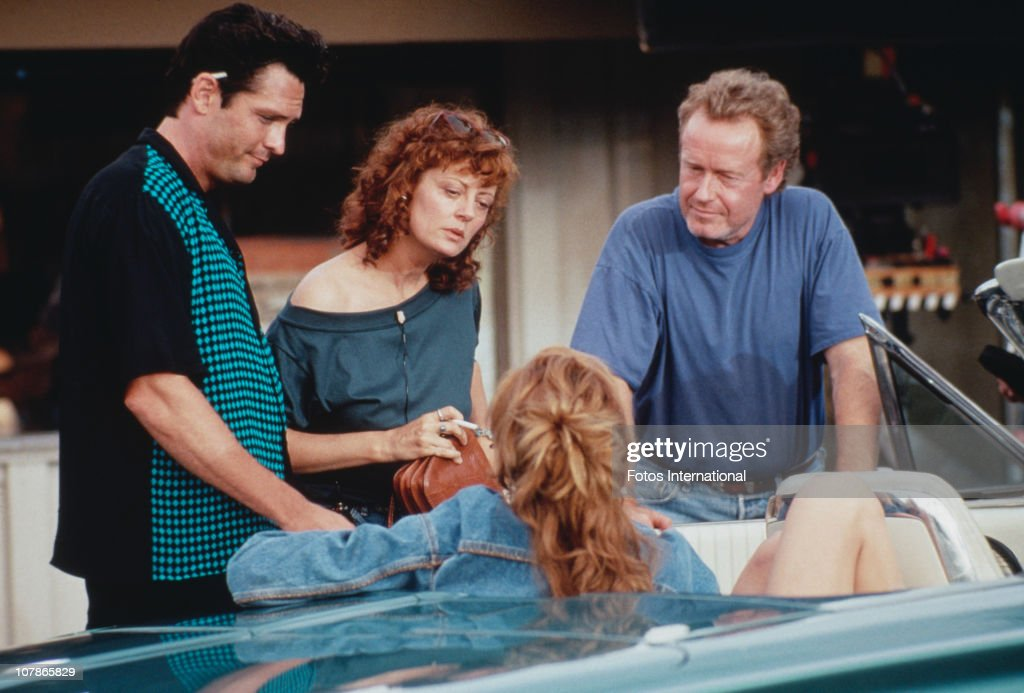 From left to right, actor Michael Madsen, actresses Susan Sarandon and Geena Davis, and director Ridley Scott on the set of the film 'Thelma And Louise', 1991.