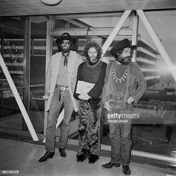 From left to right actor Peter Fonda Alejandro Jodorowsky and Dennis Hopper at London Airport UK 21st January 1971