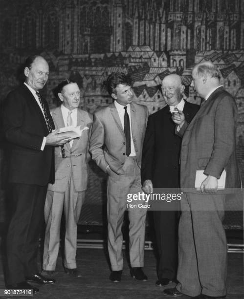 From left to right actor Sir John Gielgud singer Randolph Sutton singer Tommy Steele actor Billy Danvers and poet John Betjeman at the Prince's...