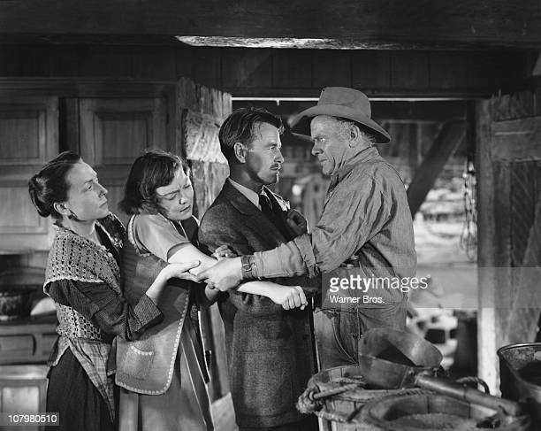 From left to right actors Agnes Moorehead Jane Wyman Lew Ayres and Charles Bickford star in the film 'Johnny Belinda' 1948