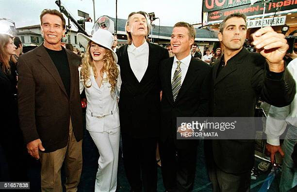 From left to right, actors and the director of Batman and Robin, Arnold Schwarzenegger, Alicia Silverstone, the film's director Joel Schumacher,...