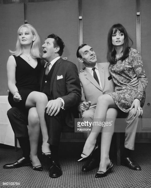 From left to right actors Anna Carteret Tommy Cooper Eric Sykes and Clovissa Newcombe stars of the film 'The Plank' at a reception for the film at...