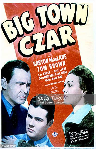 From left to right actors Barton MacLane as Phil Daley Tom Brown as Danny Daley and Eve Arden as Susan Warren on a poster for the Universal Pictures...