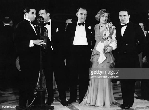 actors Benny Rubin Lawrence Gray Walter Catlett actress Marion Davies and Charlie Chaplin at a party for the premiere of the 1930 movie The Florodora...