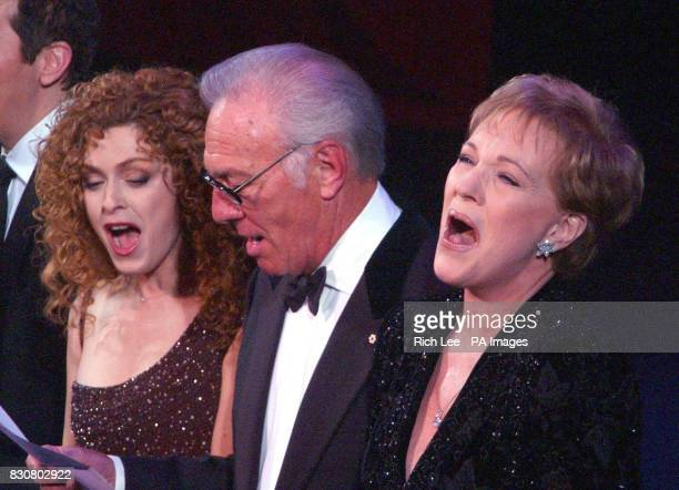 From left to right actors Bernadette Peters Christopeher Plummer and Julie Andrews sing at The Richard Rodgers Centennial Benefit Concert at The...
