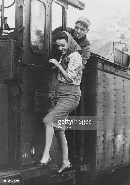 From left to right actors Burt Lancaster and French actress Jeanne Moreau filming a scene for the John Frankenheimer movie 'The Train' France 18th...