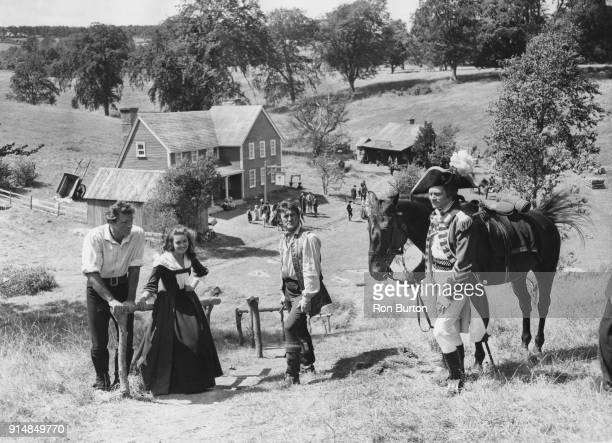 From left to right actors Burt Lancaster Janette Scott Kirk Douglas and Sir Laurence Olivier on the first day of shooting for the American...