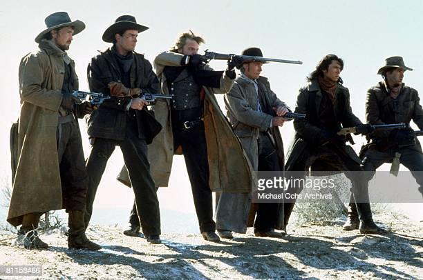 From left to right actors Casey Siemaszko Charlie Sheen Kiefer Sutherland Emilio Estevez Lou Diamond Phillips and Dermot Mulroney star in the film...