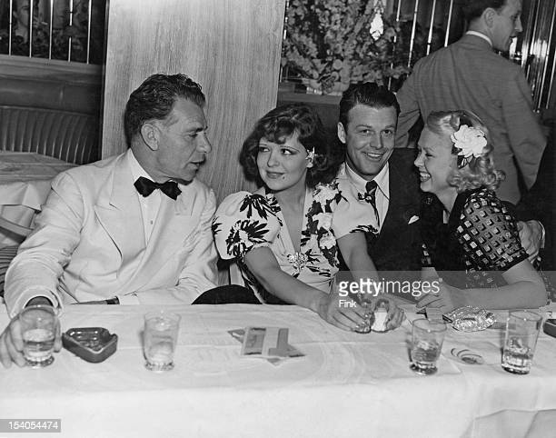 From left to right actors Charles Ruggles Clara Bow her husband Rex Bell and Toby Wing at Bow and Bell's new cafe the 'It' Cafe in Hollywood Los...