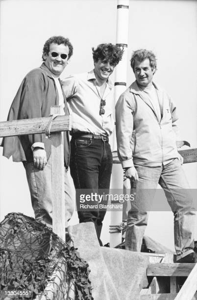 From left to right actors Colm Meaney and Hugh Grant and director Christopher Monger publicise their film 'The Englishman Who Went Up a Hill But Came...