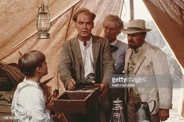 From left to right actors Corey Carrier Joseph BennettMargaret Tyzack and Tony Robinson star in the television series 'The Young Indiana Jones...