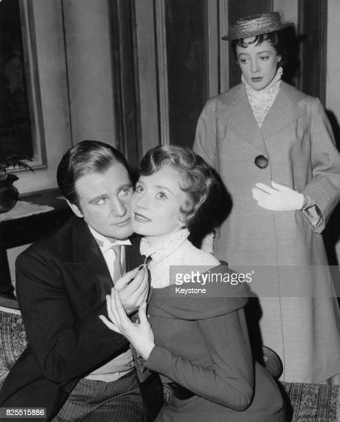 From left to right actors Donald Houston as John Shand Wendy Williams as Lady Sybil Lazenby and Maggie Smith as Maggie Wylie during a dress rehearsal...