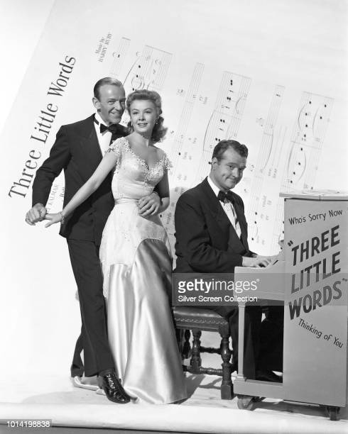From left to right actors Fred Astaire as Bert Kalmar VeraEllen as Jessie Brown Kalmar and Red Skelton as Harry Ruby in a publicity still for the...