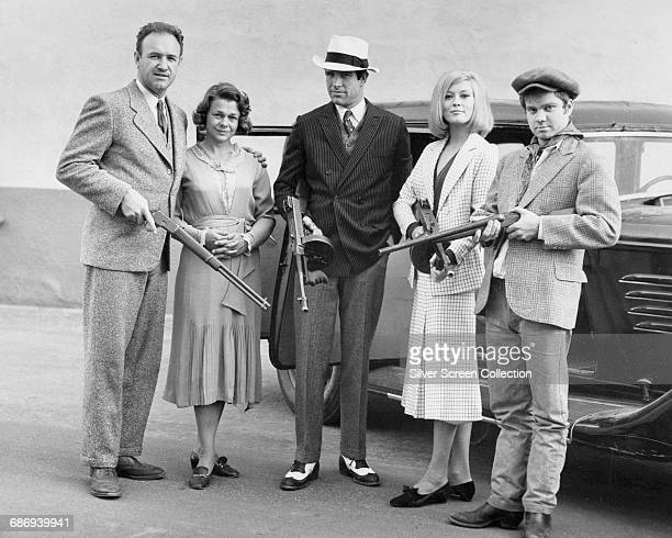 From left to right actors Gene Hackman as Buck Barrow Estelle Parsons as Blanche Barrow Warren Beatty as Clyde Barrow Faye Dunaway as Bonnie Parker...