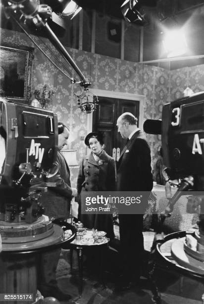 From left to right actors George Waring Kathleen Harrison and Richard Caldicot rehearse for the upcoming Associated Television 13part serial 'Mrs...