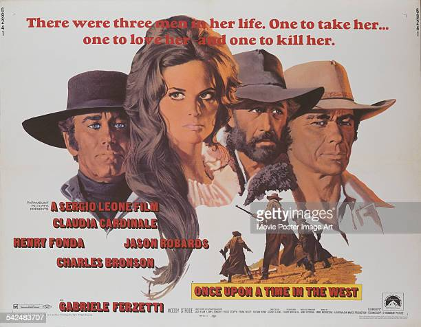 From left to right actors Henry Fonda Claudia Cardinale Jason Robards and Charles Bronson appear on the poster for the western 'Once Upon A Time In...