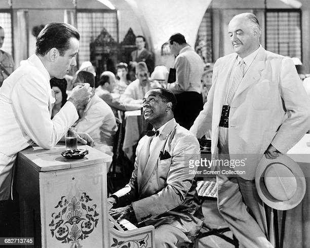 From left to right actors Humphrey Bogart Dooley Wilson and Sydney Greenstreet in a scene from the film 'Casablanca' 1942