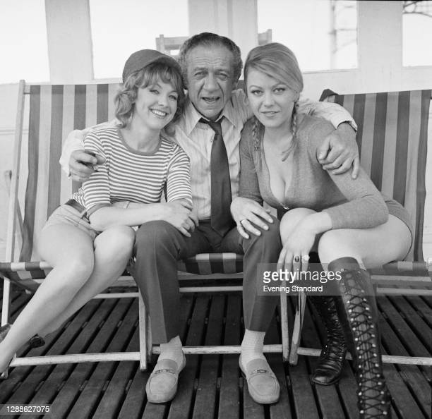 From left to right, actors Jacki Piper, Sid James and Margaret Nolan, stars of the comedy 'Carry On At Your Convenience', in Brighton, UK, May 1971.