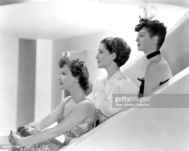 From left to right actors Joan Crawford as Crystal Allen Norma Shearer as Mrs Stephen Haines and Rosalind Russell as Mrs Howard Fowler in a publicity...