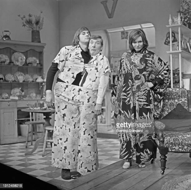 From left to right, actors John Harding, Kenneth Williams and Jenny Linden star in the comedy 'My Fat Friend' by Charles Laurence at the Globe...