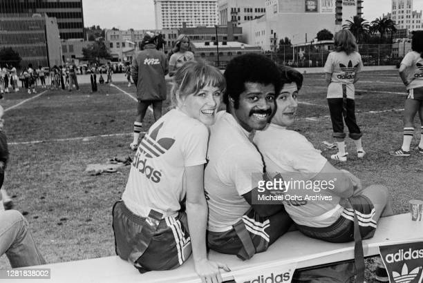 From left to right actors Lauren Tewes Ted Lange and Fred Grandy from the television series 'The Love Boat' take part in the Third Annual Bert Convy...