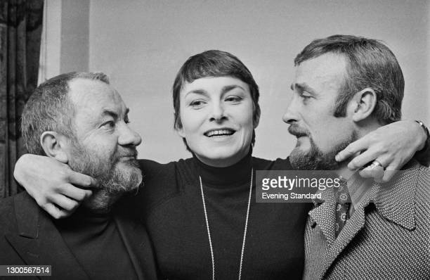 From left to right, actors Leo McKern , Barbara Jefford and Edward Woodward , UK, 2nd April 1973.