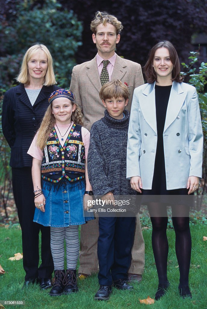 From left to right, actors Lindsay Duncan as Lady Walton, Tiffany Griffiths as Violet Elizabeth Bott, Ben Pullen as Robert Brown, Oliver Rokison as William Brown and Rebecca Johnson as Ethel Brown in a publicity still for the BBC television series 'Just William', based on the stories by Richmal Crompton, 23rd October 1995.