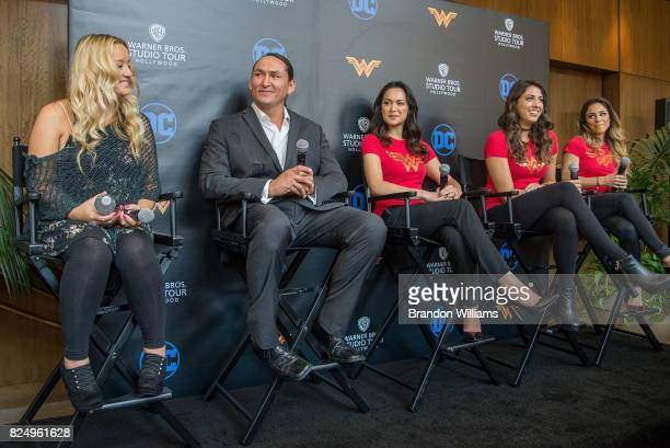 From left to right Actors Lucy Davis Eugene Brave Rock Samantha Jo Caitlin Dechelle and stuntwoman Michaela Facchinello the Warner Bros Studio Tour...